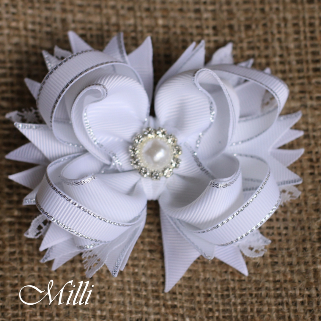 #202 Snowflake New Year hair accessories -hair bow by MilliCrafts.com - 1pcs available