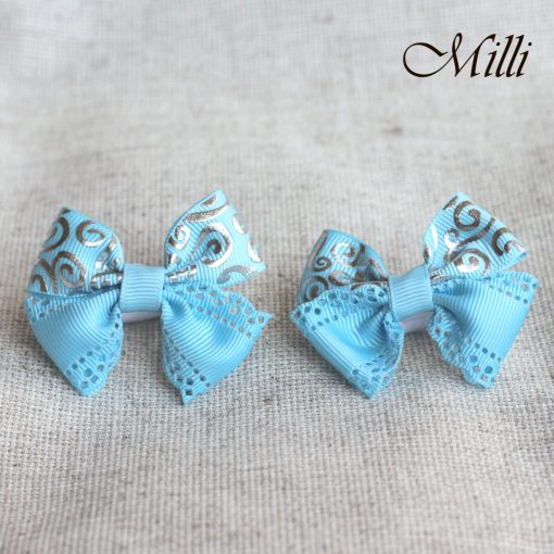 #6 Handmade hair bands/ scrunchies by Millicrafts.com - blue lace- 2pcs available