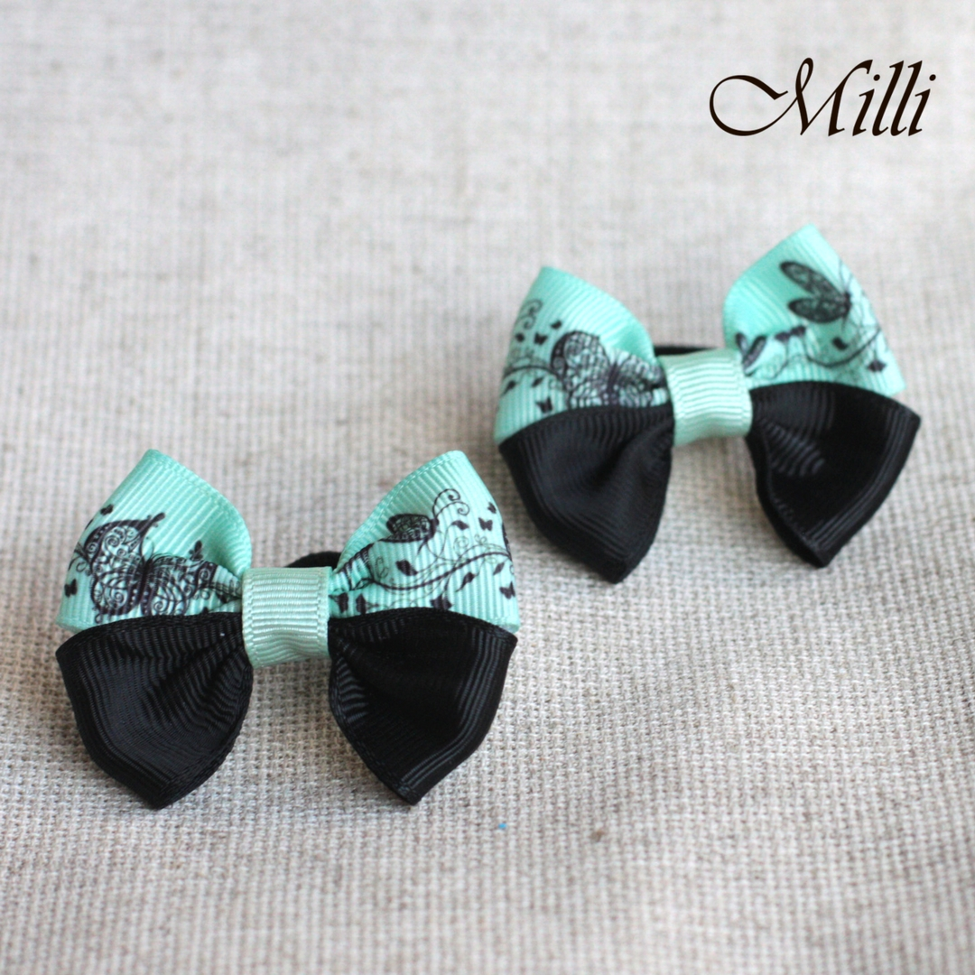 #18 Handmade hair bands/ scrunchies by Millicrafts.com - mint lace and black- 1pcs available