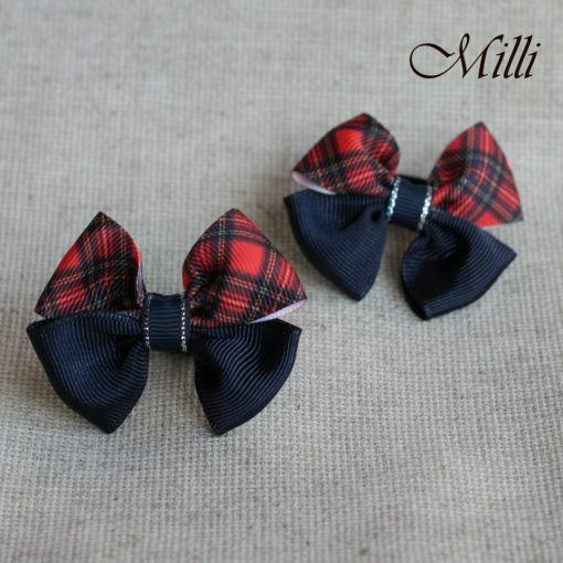 #15 Handmade hair bands/ scrunchies by Millicrafts.com - dark blue and scotland cell- 2pcs available