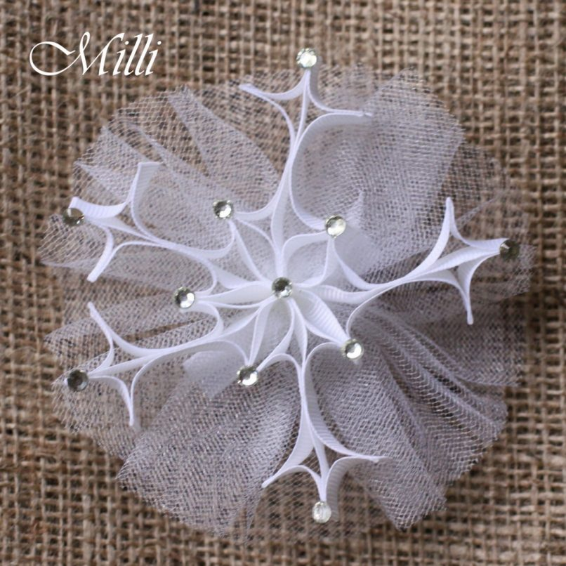 #205 Snowflake New Year hair accessories -hair bow by MilliCrafts.com - 2pcs available