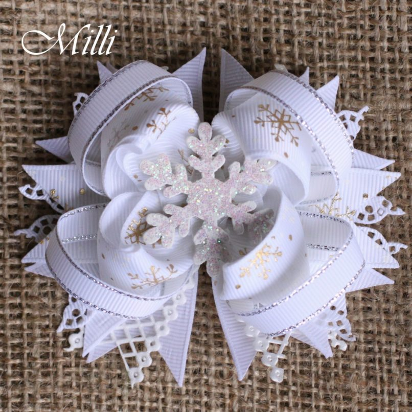 #206 Snowflake New Year hair accessories -hair bow by MilliCrafts.com - 2pcs available
