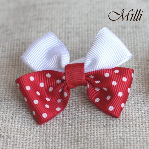 #1 Handmade hair bands/ scrunchies by Millicrafts.com - white and polka-dot red - 2pcs available