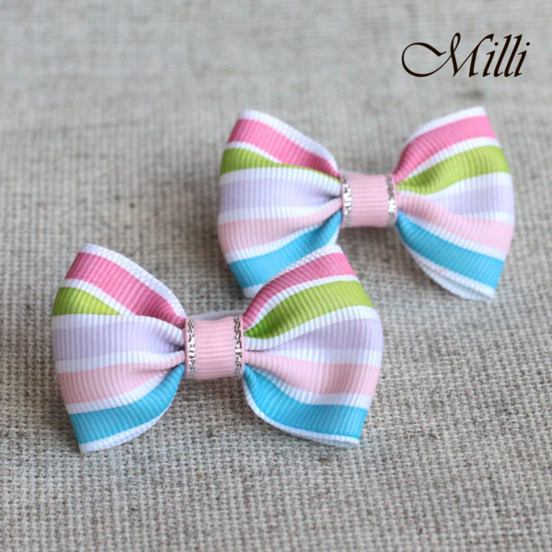 #5 Handmade hair bands/ scrunchies by Millicrafts.com - pastel stripes- 2pcs available
