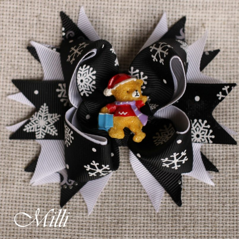 #208 New Year hair accessories -hair bow by MilliCrafts.com - 1pcs available