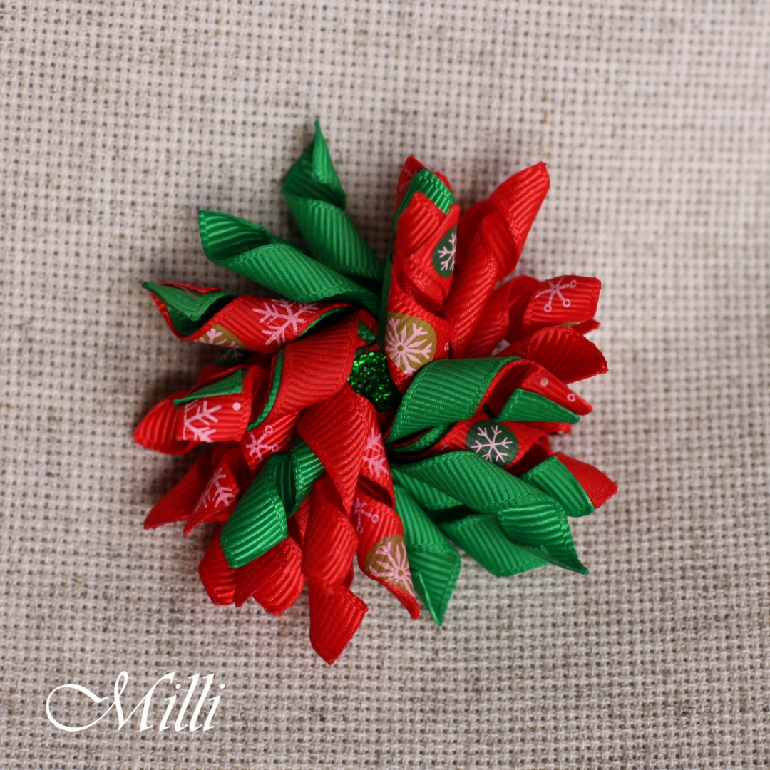 #210 New Year hair clip in red & green by MilliCrafts.com - 2pcs available