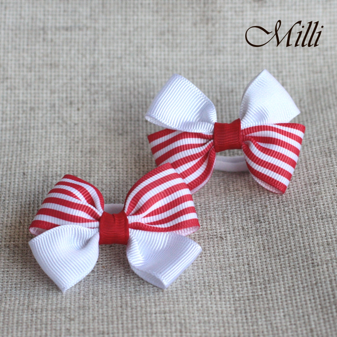 #2 Handmade hair bands/ scrunchies by Millicrafts.com - white and red stripes - 2pcs available