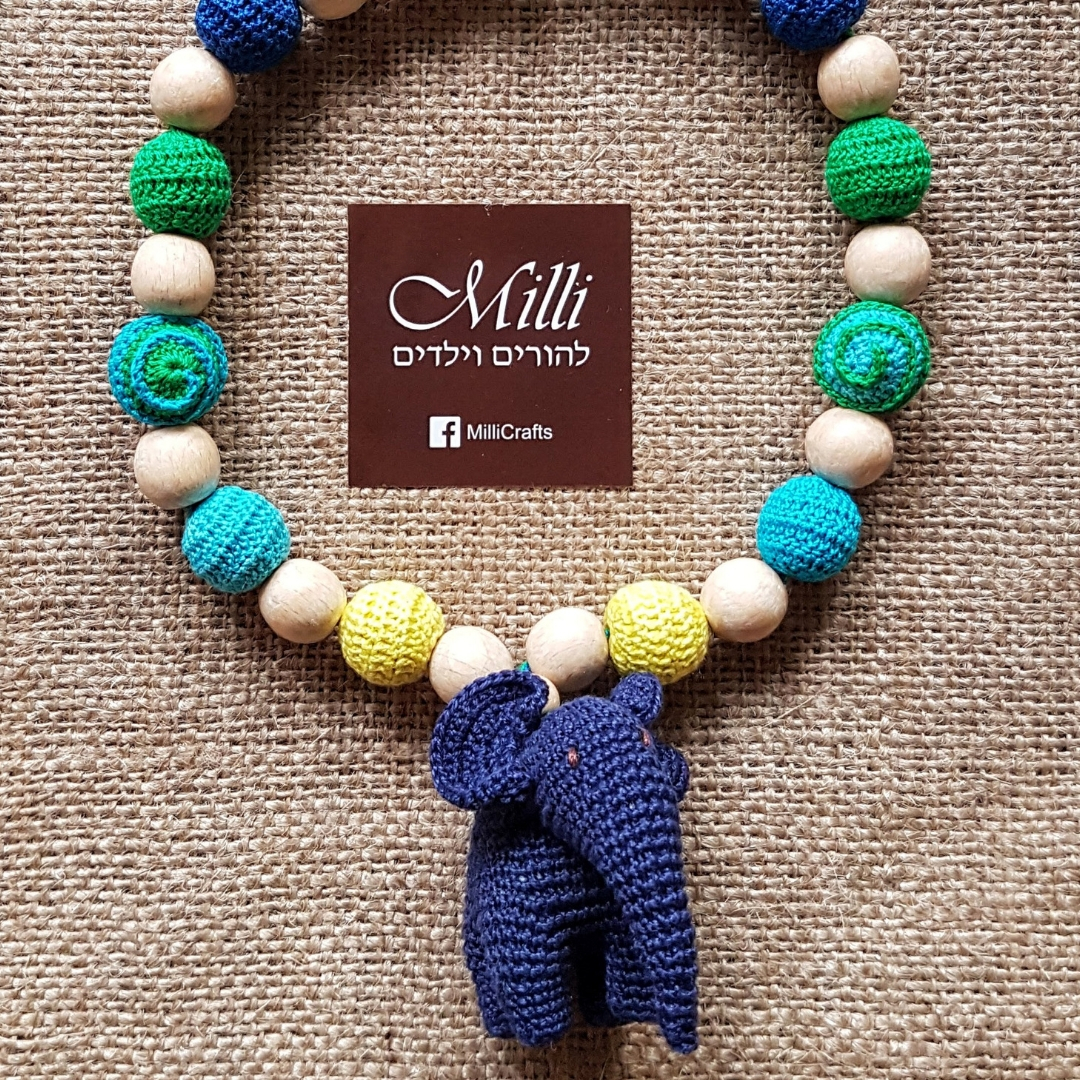Nursing Teething Necklace with an elephant