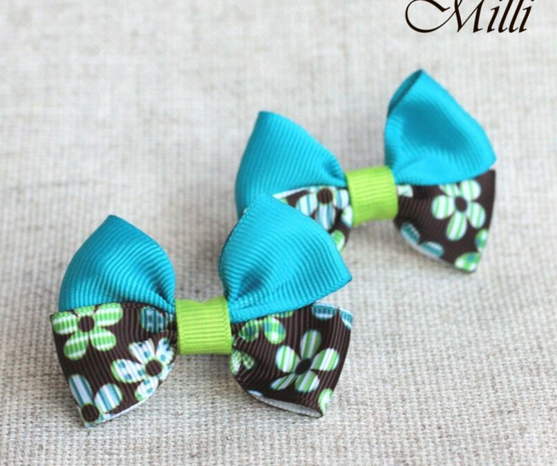 #9 Handmade hair bands/ scrunchies by Millicrafts.com – aquamarine and brown flowers- 2pcs available