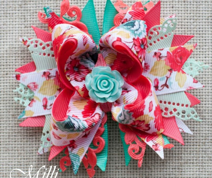 #103 Big hair bow clip Pastel Rose by MilliCrafts.com – 2pcs available