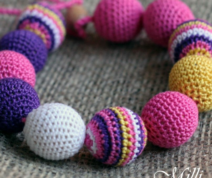 Mexico Inspired Teething / Nursing Necklace in Pink by MilliCrafts.com