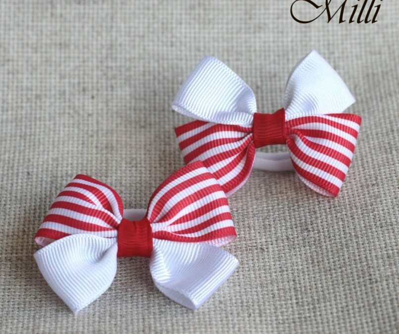 #2 Handmade hair bands/ scrunchies by Millicrafts.com – white and red stripes – 2pcs available